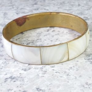 Jewelry - VTG 1970s Mother of Pearl Inlay Bracelet Bangle